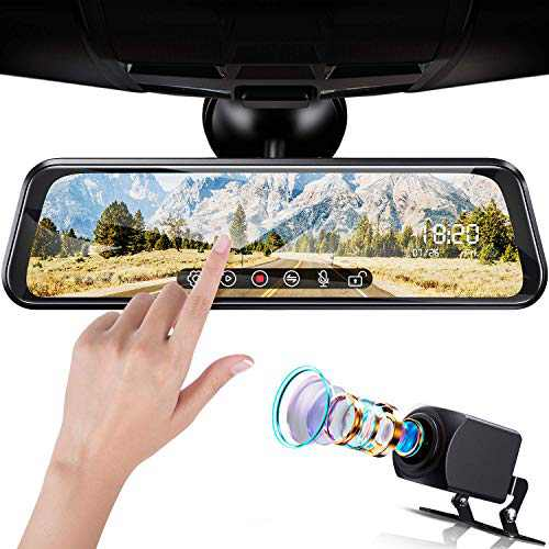 """FOOKOO 1080P Mirror Dash Cam, Video Streaming Front and Rear View Camera, 10"""" Full Touch Screen + Front Lens and IP69 Waterproof License Plate Camera, Recording Parking with Night Vision"""
