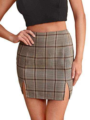SheIn Women's Tartan Plaid Split Hem Above Knee Bodycon Skinny Mini Skirt Khaki L