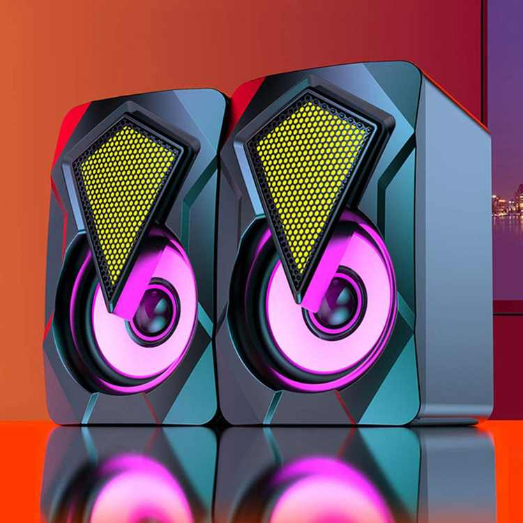 Goeco Multimedia Computer Speakers, Mini Desktop Stereo Speaker with RGB Colorful Light, 2.0 USB Wired Subwoofer Black