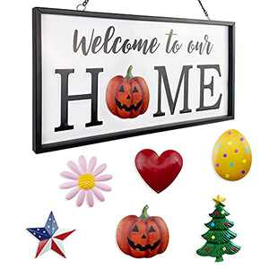 Winder Interchangeable Welcome Sign for Front Door Metal Wall Decor Hello sigh to Our Home Sign with 6 PCS Seasonal Magnetic Holiday Inserts Wall Hanging Indoor Rustic Home Decor Outdoor Decorations for Porch
