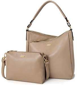 IBFUN Women Shoulder Hobo Handbags Ladies Satchel Purse Leather Large Bag 2 Pcs Set