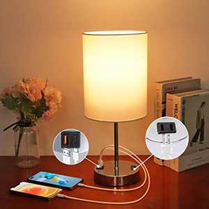 Touch Control Bedside Table Lamp with Fast USB Charging Ports & Power Outlets, 3-Way Dimmable Nightstand Lamp with White Light, Modern Desk Lamp for Living Room, Bedroom& Office (Bulb Included)
