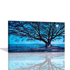 Blue Wall Art for Living Room Canvas Art Big Tree in the Beach Night Wall Decor for Living Room Walls Canvas Paintings Wall Art for Dining Room Painting for Wall Decorations Canvas Framed 20x40inch