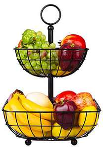 2 Tier Fruit Basket Bowl, Countertop Vegetables Basket, Metal Storage Holder Stand for Kitchen, Dining Table, Black