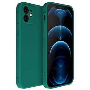 iPhone 12 Case Compatible with iPhone 12 Matte Silicone Gel Cover with Full Body Protection Anti-Scratch Shockproof Case Dark Green 6.1 inch