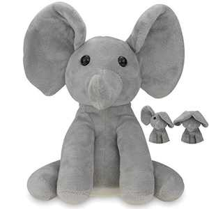Yoego Talking Toy, Plush Elephant Cute Sound Effects with Repeats Your Said Voice, Best Buddy for Kids Gift (Gray)