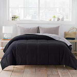 WhatsBedding All-Season Twin Black/Grey Down Alternative Comforter - Lightweight Bed Comforter with Corner Tabs - Duvet Insert or Stand-Alone Comforter - 64×88 Inch