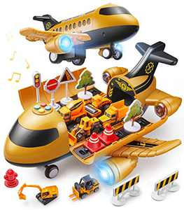 Geyiie Car Toys Set with Transport Cargo Airplane, Educational Vehicle Construction Car Set with Music Light for Kids Toddler Boys Child Gift for 3+ Years Old, 6 Cars, Large Plane, Road Signs