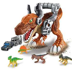 Dinosaur Building Blocks Truck Toys for Kids, 18PCS Dinosaur Car Toys Set with 4 Small Dinosaurs Educational STEM Toys for Boys Girls Age 3 4 5 6 Gift