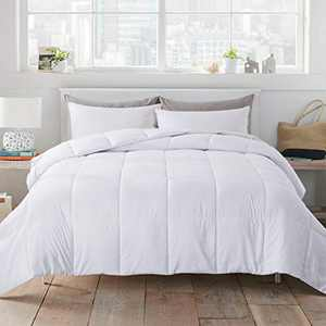 WhatsBedding White Down Alternative Quilted Comforter - All Season Lightweight Duvet Insert or Stand-Alone Comforter with Corner Tabs - Twin Size(64×88 Inch)