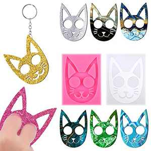 Self-Defense Keychain Cat Keychain Resin Molds Epoxy Cat Silicone Molds Pendant Casting Mold Crystal DIY Crafts Mold for Jewelry Crafts Making Supplies (2 Pieces)