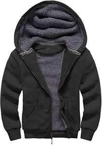 GEEK LIGHTING Boys Sherpa Lined Hoodie Kids Fleece Sweatshirt Full Zip Hooded Jacket (C-Black,12-13)