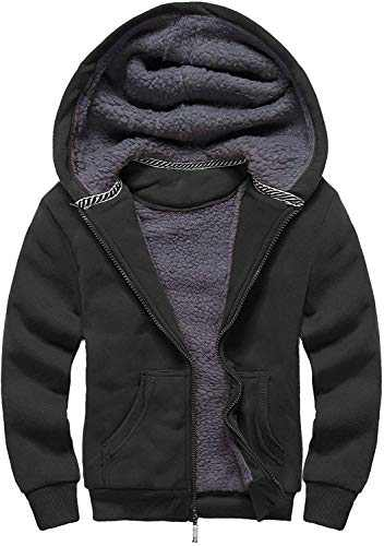 GEEK LIGHTING Boys Sherpa Lined Hoodie Kids Fleece Sweatshirt Full Zip Hooded Jacket (C-Black,9-11)