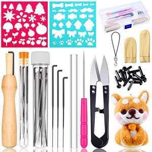 46 Pieces Needle Felting Tools Kit Includes Finger Protector Wooden Handle Awl Plastic Awl Felting Scissors and Felt Molds for DIY Felting Wool Crafts