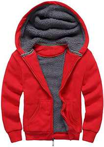 GEEK LIGHTING Boys Sherpa Lined Hoodie Kids Fleece Sweatshirt Full Zip Hooded Jacket (C-Red,12-13)