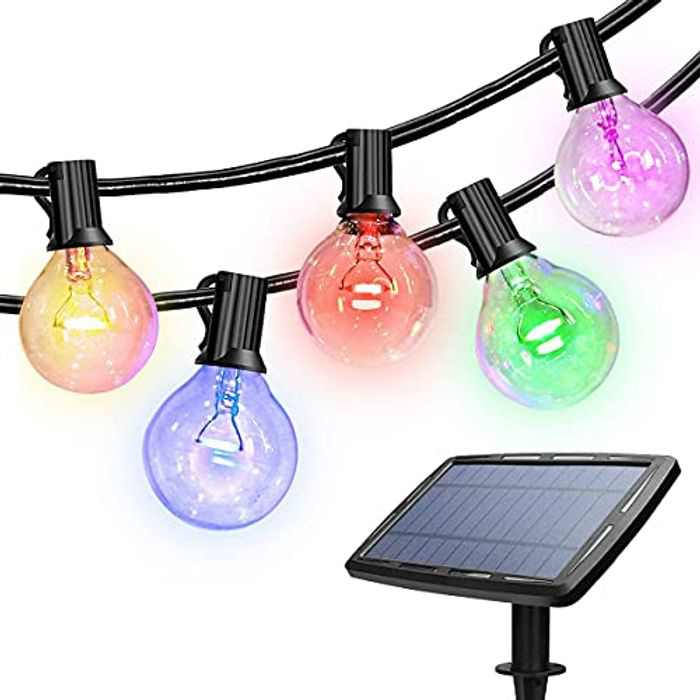 Colorful Outdoor String Light, 48ft Solar String Lights w/ 18 Pcs Solid Waterproof LED Glass Bulbs, Solar or USB Powered with 4 Lighting Modes, for Outdoor, Home, Lawn & Holiday Decorations