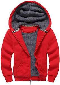 GEEK LIGHTING Boys Sherpa Lined Hoodie Kids Fleece Sweatshirt Full Zip Hooded Jacket (C-Red,9-11)