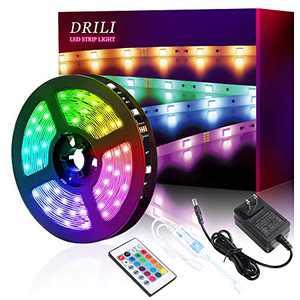 DRILI LED Strip Lights 16.4ft, 5050 RGB Color Changing Lights 150 LEDs Light Strips Kit with 24 Keys IR Remote Controller and 24V Power,Lights for Bedroom,Home, Kitchen,DIY Decoration