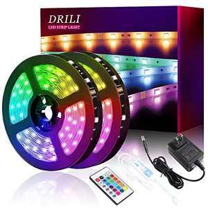 DRILI LED Strip Lights 32.8ft,Led Strip Light for Bedroom,Kitchen, Desk,Color Changing Led Strip with 24 Keys Remote