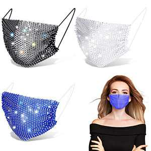 3 Pieces Rhinestone Mesh Face Cover Crystal Masquerade Ball Party Crystal Face Cover Jewelry for Women Girls (Black, White, Sky Blue)