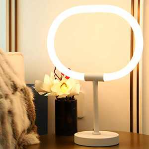 Modern LED Table Lamp for Bedroom Living Room, Dimmable 3000K Soft Warm White Desk Lamp, Unique New Technology Tube 360° Glow Light No Heating Bedside Night Light, Decorative Nightstand Reading Lamp