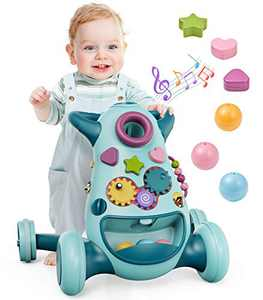 Geyiie 2 in 1 Baby Sit to Stand Walkers Toys, Kids Activity Center, Toddlers Musical Fun Push Toy, Lights and Sounds, Learning, Birthday Gift for 12, 18 Months, 1, 2 Year Old, Infant, Boy, Girl