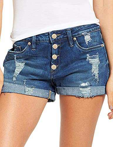Lookbook Store Women's Casual Mid Rise Ripped Distressed Jeans Button Down Rolled Hem Shorts Twilight Blue Size Medium