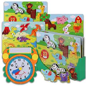 Wooden Toddler Puzzles and Rack Set - (3 Pack) Bundle with Storage Holder Rack and Learning Clock - Kids Educational Preschool Peg Puzzles for Children Boys Girls – Safari, Dinosaur and Farm Animals
