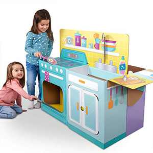 WowWee Nursery / Toddler Kitchen Playset – 2-in-1 Nursery and Kids Pretend Play Kitchen – StrongFold Cardboard by Pop2Play
