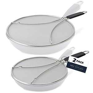 Splatter Screen for Frying Pan - Set of 2 Grease Splatter Screens 9.5 inch and 13 inch Diameters - Protect Yourself and Your Kitchen from Oil with Splash Guards that fit Almost Any Pan