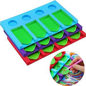 3 Pieces 5D Diamond Painting Drill Organizer Tray 12 Slots Stackable Multi-Boat Holder with 12 Pieces Beading Trays Diamond Painting Tools Kits for Adults Kids Organizing Diamonds