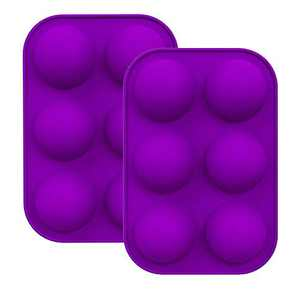 2PCS Semi Sphere Silicone Hot Chocolate Bomb Mold, Biscuit, Cake Mold, DIY baking tools, Silicone Baking Mould For Making Hot Chocolate Bomb, Cake, Pudding, Dome Mousse, Handmade Soap (Purple)