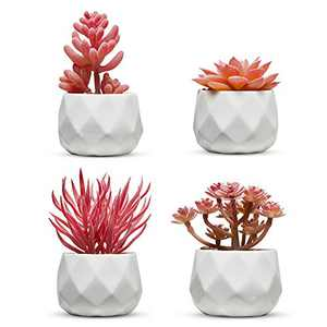 Nordik Set of 4 Desk Plants for Office Desk Decor for Women, Indoor, Living Room, Bedroom and Home Decor – Pink Faux Succulents in White Geometric Ceramic Planters
