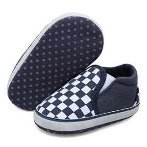 JOINFREE Baby Boys Girls Ankle Sneakers Soft Sole Infant Slippers Newborn Prewalkers Navy Checkered 12-18 Months