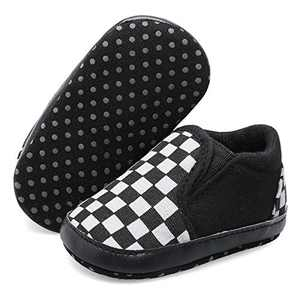 JOINFREE Unisex Baby Boys Girls High Top Sneakers Soft Non-Slip Sole Shoes for Infant Black Checkered 12-18 Months