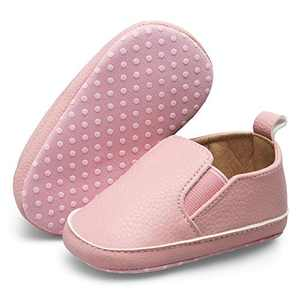 JOINFREE Baby Boys Girls PU Leather Shoes Soft Infant Sneakers Slippers Toddler First Walkers Pink 0-6 Months