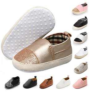 JOINFREE Baby Boys Girls PU Leather Soft Bottom Walking Sneakers Infant Toddler Crib Shoes Gold 0-6 Moths