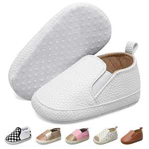 JOINFREE Baby Girls Boys PU Leather Moccasins Infant Toddler First Walkers Crib Dress Shoes White 0-6 Months