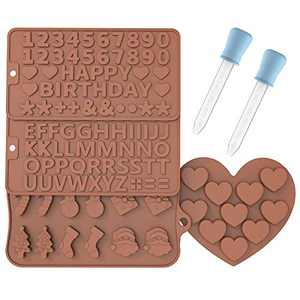 Letter Molds for Chocolate Silicone Candy Molds, Happy Birthday Numbers Party Jelly Tray Ice Cube 4Pcs, for Cake Decoration Symbols with 2 Dropper Valentines Day