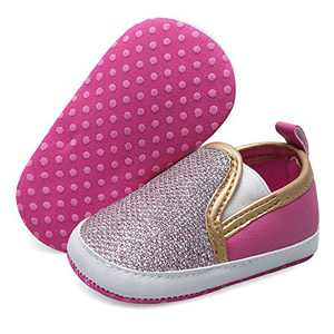 JOINFREE Baby Girls Boys Sneakers Soft Sole PU Leather Baby Shoes Toddler Walking Crib Shoes Pink 12-18 Months