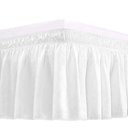 RIMELA Bed Skirt Wrap Around Elastic Dust Ruffle Solid Color Wrinkle and Fade Resistant with Adjustable Elastic Belt Easy to Install White for Queen Size 15 Inch Drop