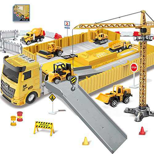 ZAYOR Construction Vehicle Toys Set, Engineering Playset Musical Preschool Educational Toys,Excavator,Bulldozer,Dumpers,Steamroller,Mud Tanker,Forklift,Lifting Crane,STEM Toys for Kids Age 34 5 6 7 8