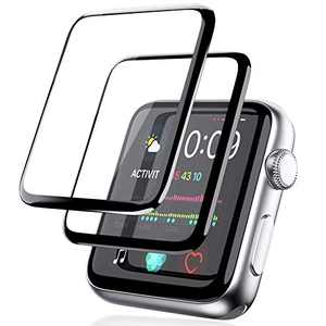 [2 Pack] Screen Protector for Apple Watch 44mm Series 6/5/SE/4 Full Coverage Bubble-Free Scratch-resistant Anti-Fingerprint HD Screen Transparent Protector-Black