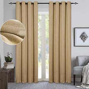 """GRALI Sun Light Blocking Curtains, Super Heavy-Duty Blackout Curtains for Bedroom, Sound Proof Tweed Textured Window Treatment(52"""" W x 84"""" L, Pack of 2, Burlap)"""