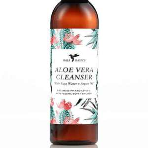 Aloe Vera Face Cleanser by Baja Basics with Rose Water and Argan Oil, Gentle Foaming, Deep Cleansing, Moisturizing, pH Balancing, Great for All Skin Types Face Wash 4 oz