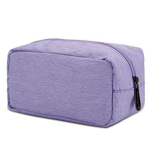 E-Tree Rectangle Canvas Cosmetic Travel Bag, with Shockproof foam Padded, Makeup Carrying Case, Portable Daily Storage, Compliant Bag, Toiletry Carry Pouch Small Organizer (Purple)