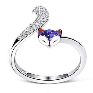 PLATO H S925 Sterling Silver Fox Animal Ring Crystals from Swarovski for Women Teen Girl High Polish Plain Adjustable Fox Tail Ring Anniversary Purple Jewelry Valentines Day Gifts for her