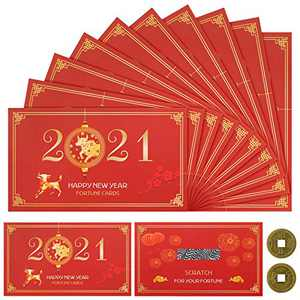 30 Pieces 2021 Chinese New Year Fortune Cards New Year Scratch Off Cards with 2 Piece Chinese Coins Year of The Ox Party Scratch Off Fortune Cards for Presents Chinese Spring Festival Party