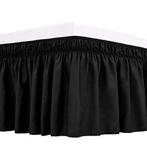 RIMELA Bed Skirt Wrap Around Elastic Dust Ruffles Solid Color Wrinkle and Fade Resistant with Adjustable Elastic Belt Easy to Install Black for King Size 15 Inch Drop