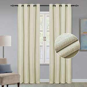"""GRALI 95-inch Long Thermal Insulated Curtains, Plaid Textured Window Drapes, Light Filtering Nursery Draperies (2 Pcs, 52"""" Wide, Cream White)"""